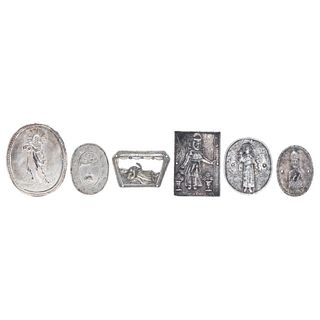 Lot of Medallions, Mexico, 19th century, Cast silver, embossed, and chiselled, Pieces: 6