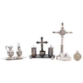 Lot of Religious Items, Mexico, 19th century, Silver, Includes: Altar cruet, tabernacle, chrismatory, and crucifix-reliquary. Pieces: 5.
