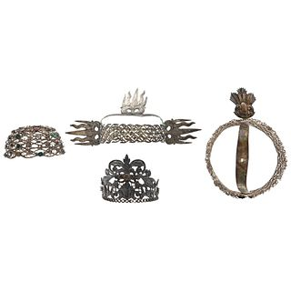 Lot of Crowns and Aureolas for Saints, Mexico, 19th century, Silver with some simulants, Pieces: 4