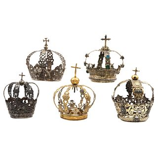 Lot of Crowns for Religious Figures, Mexico, 18th-19th century, Silver, Different designs, Pieces: 5