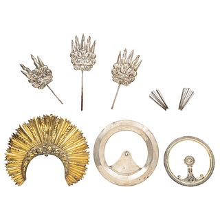 Lot of Tiaras and Aureolas for Religious Figures, Mexico, 18th-19th Centuries, Silver, Pieces: 5