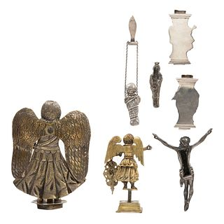 Lot of Religious Figures (Medals, Fragments, Brooches), Mexico, 19th century, Silver and gilt-silver