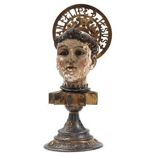 Head of Saint on Base, Mexico, 18th-20th century, Stucco and polychrome wood carving, gilt-silver base