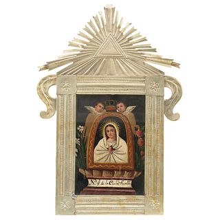 Our Lady of Charity, 19th century, Oil on sheet, Silver metal frame, embossing and punching.