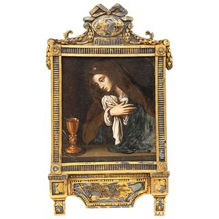 Our Lady of Solitude, Mexico, 19th century, Oil on copper sheet, Low-grade gilt and laminated silver frame.