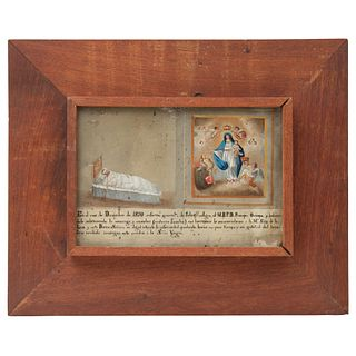 Ex-voto in Devotion to Our Lady of Light, Mexico, 19th century, Oil on zinc sheet