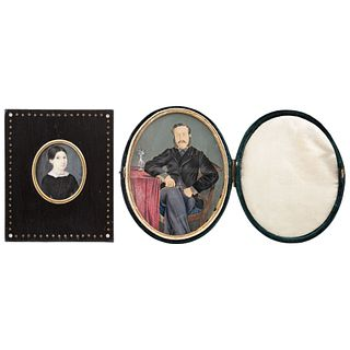 Pair of Miniature Portraits, Europe and Mexico, 19th century