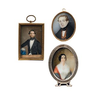 Lot of Three Miniature Portraits, Mexico and USA, 19th century