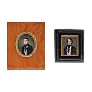 Pair of Miniature Portraits, Mexico and France, 19th century
