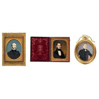 Lot of Three Miniature Portraits, Mexico and Europe, 19th-20th centuries