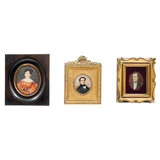 Lot of Three Miniature Portraits, Mexico and Europe, 19th Century