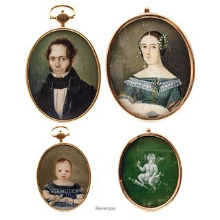 Lot of Miniature Portraits, Mexico and Europe, 19th century