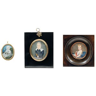 Lot of Three Miniature Portraits, Europe, 19th century