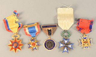 """Group of Five Enameled Medals to include 14K gold American Legion; blue and white enameled cross; """"Loyal Legion, Regit Arma Tuentur""""..."""