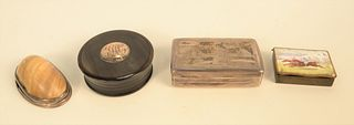 Four Small Boxes to include Continental silver snuff box with engraved farm landscape with figure on cover; John Hastier, New York, ...