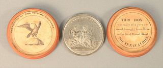 Metal Commemorative Erie Canal Medal with Original Box Designed by Archibald Robertson and Engraved by Charles Cushing Wright, 1826...