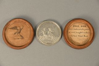 Metal Commemorative Erie Canal Medal with Original Box Designed by Archibald Robertson and Engraved by Charles Cushing Wright, 1826, Medal for Comple