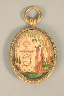 """Locket with Oval Painting Memorial marked """"MG, ob May 31, 1789"""", locket with hair marked on reverse """"Maria, May 1789"""". locket height..."""