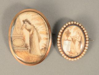 """Two Memorial Pins each with woman at memorial, one with religious poem surrounded by small pearls.  2"""" x 1 1/2"""" and 1 1/4"""" x 1"""". Pro..."""