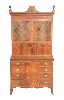Federal Mahogany Secretary Desk in two parts, upper section with finials over two glazed doors over three doors, set on lower sectio...