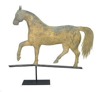 Copper Horse Full Bodied Weathervane, partial gilt finish. height 26 inches, length 34 inches.  Provenance: From the Marjorie & Howa...