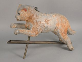 Weathervane in the Form of Jumping Cat, 19th century with remnants of original paint. height: 24 inches, length of figure: 24 inches. Provenance: The