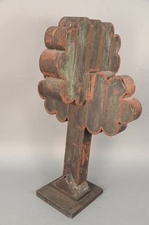 Folk Art Copper Tree Sculpture, 19th century with remnants of red paint. height 34 1/2 inches, width 18 1/2 inches. Provenance: The Estate of Diana At