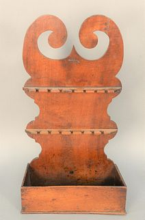 Birch Spoon Rack from Alden House, Union Maine, 18th century. height 24 3/4 inches, width 14 inches.