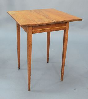 """Federal Maple and Tiger Maple Stand having square top over drawer set on icicle inlaid square tapered legs, circa 1800. height 25 3/4 inches, top 21"""""""