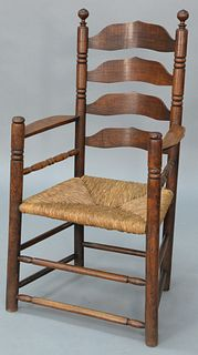 Ladder Back Great Chair having shaped splats and ribbon arms over turned supports, old surface (ended out), two slats, signed T.L. h...