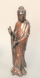 Bronze Guanyin Figure wearing robe in standing position having inlaid cloud and floral motifs with cloth fitted box. height 12 3/4 i...