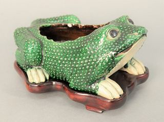 Chinese Glazed Porcelain Toad or Frog Jardiniere, green and white enameled, recumbent position, pierced frowning mouth with bulging ...