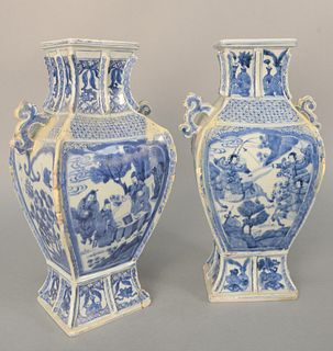 Pair of Chinese Porcelain Blue and White Vases, square form with ribbed molded edges, painted warriors on one side and scholars on t...