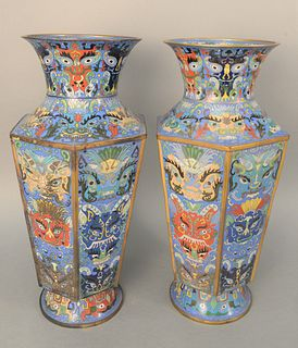 Pair of Large Chinese Cloisonne Vases body having six sides and a foo dog design flared circular rim and foot.  height 20 1/4 inches...
