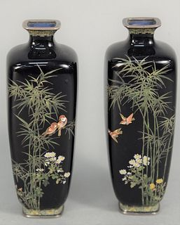 Hayashi Kodenji (1831 - 1915), Pair of Cloisonne Vases, Meiji period, square form having bamboo trees blossoming with flowers and bi...