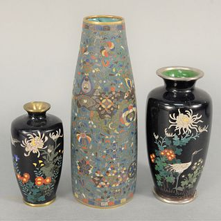 Three Cloisonne Vases, to include one having crane and wildflowers, small enameled vase with bird and flowers, signed on bottom, and...