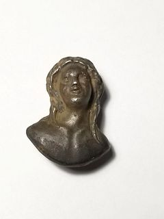 Silver Roman Bust of Apollo c.2nd-3rd Cent. CE. Size 21 mm.