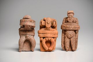 Lot of 3 Ancient Colima Bedded Figures Mexico c.100 B.C. - 200 A.D.