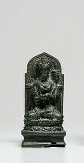 Indonesian bronze Buddha, seated on a lotus throne c.19th century AD