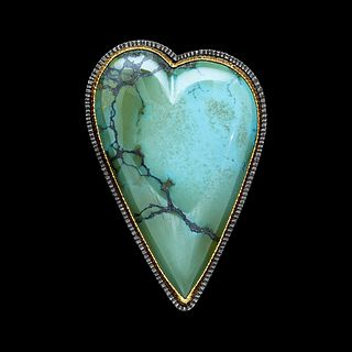Large Chinese Turquoise Heart Pin/Pendant