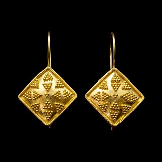 Granulated Diamond Shaped Earrings