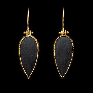 Black Onyx Hinged Earrings
