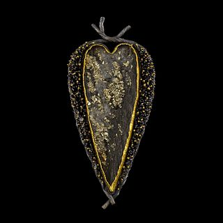 Tufted Pyrite Heart Pin/Pendant