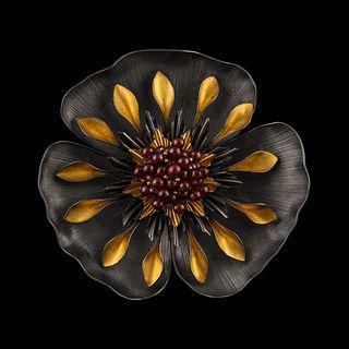 Tropical Flower Pin/Pendant with Purple Garnets