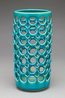 Pierced Cylindrical Turquoise Vessel/Candleholder