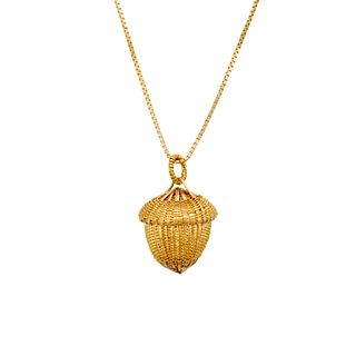 Tiny Acorn Basket Necklace