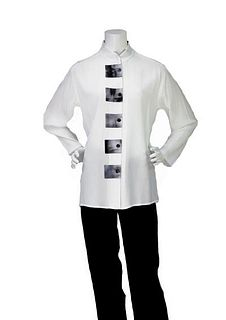 5105 Tunic White with Hand Dyed Trim