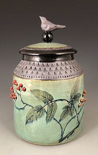 Poison Hemlock Cannister with Sumi-e Bird and Red Berries