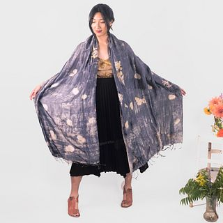 Large silk shawl with tassels: Indigo, midnight, eucalyptus