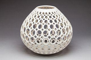 Pierced Ceramic Teardrop Vase with Oval cuts